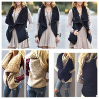 Wholesale Fur Imitation Vest - women winter warm Vest Sherpa outwear irregularity Imitation Faux Fur Shearling Vest women winter warm Tank Tops Tank Tops KKA3605