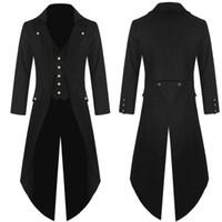 trajes góticos venda por atacado-Casaco Vestido dos homens Casaco Casaco Trespassado Gótico Frock Traje Uniforme Praty Outwear Moda homens Longos 2018AUG10