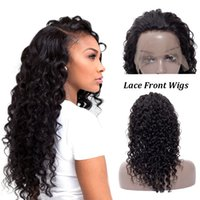 Wholesale black human hair wigs curls for sale - Group buy Factory Deep Wave Human Hair Lace Front Wigs Brazilian Human Virgin Lace Front Wig Deep Curl Heat Resistant Lace Front Wig Parting Brazilian