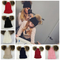 Wholesale thanksgiving beanie babies for sale - Knitting Warm Hats Winter Beanie Hats Mom And Baby Family Matching baby Double pompom Crochet hat KKA6203