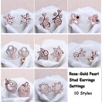 Wholesale stud earring blanks - 10 Styles Pearl Earring Setting Zircon Solid Rose Gold Earrings Setting Pearl Stud Earring Mounting Earring Blank DIY Jewelry DIY Gift