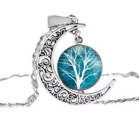 Wholesale Picture Heart Pendant - Fashion Glass Moon Statement Necklace Vintage Silver Color Jewelry Life Tree Art Picture Pendant Necklace