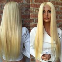 glueless 613 lace perucas venda por atacado-150 densidade brasileira mel loira cabelo humano rendas frente perucas cor 613 # em linha reta sem cola grossa cheia do laço perucas de cabelo humano com o cabelo do bebê
