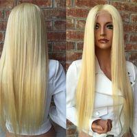 blonde spitzeperücken großhandel-150 Dichte Brasilianische Honig Blonde Menschenhaarspitze-vordere Perücken Farbe 613 # Gerade Dicke Glueless Volle Spitze Echthaar Perücken Mit Baby haar