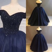 Wholesale purple luxury crystal beaded dress online - Selling Quinceanera Dresses Bling Bling Crystal Beaded Bodice Corset Navy Blue Ball Gowns Off The Shoulder Charming Luxury Prom Dresses