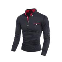 polverschleiß großhandel-Männer Shirt Marke Männlich Langärmelige Freizeitkleidung Dünne Polka Dot Taste Tasche Pole Männer Pullover M-3XL
