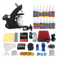 Wholesale tattooing kits for beginners - Wholesale-OPHIR 269pcs set Tattoo Kit chine Gun 7Colors Tattoo Inks Pigment Induction Tattoo Machine for Beginner Body Tatto Art