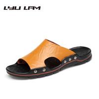 ingrosso scarpe chiare-Eco-Friendly stile britannico pistone casuale Scarpe Uomo camminata Sandalo maschio Sliders Estate Calzature Light Beach Scarpe da uomo Scarpe casual