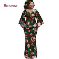ingrosso abiti tradizionali gonne-Hitarget 2018 New African Kose Abiti larghi per le donne Dashiki Traditional Cotton Top Skirt Set di 3 pezzi Abbigliamento WY2372