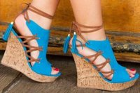 marineblaue orange fersen großhandel-European Fashion Trend Marineblau Orange Damen Sandalen Knöchelriemen Keilabsatz Hohe Plattform Quaste Verzierte Ausschnitte Casual Frauen Sandalen