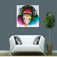 Wholesale Monkey Oil Painting Canvas - Animal Frameless Draw Core Orangutan Oil Painting On Canvas Home Decor Creative Monkey Wall Painting 16kx5 C R