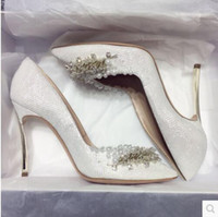 Wholesale sexy diamond high heels for sale - Group buy Wedding shoes Bride shoes Silver Gold Diamonds Pearls Made by hands High heel Pointed toe Sexy