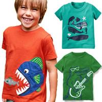 camiseta naranja bebé al por mayor-Orange Big Fish Camisetas para niños Tops para niños 100% Algodón Ropa de verano para niños Equipamiento para niños 1 2 3 4 5 Years Boy Clothing