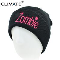 bonnets roses noirs achat en gros de-CLIMAT Femmes Fille Hiver Chaud Tricot Bonnet Chapeau Skullies Rose Zombie Drôle Chapeau Noir Bonnet Pour Adulte Femmes Filles