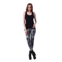 перья леггинсы оптовых-Сексуальные эластичные брюки 3D цифровая печать павлинье перо шаблон женщины леггинсы 7 размеры фитнес одежда Бесплатная доставка Оптовая
