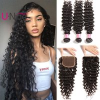 Wholesale cuticle hair for sale - UNice Hair Virgin Brazilian Deep Wave Human Hair Bundles With Closure Bundles With Lace Closure Cuticle Aligned Deep Bundles With Closure