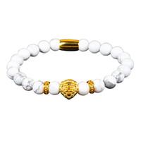 preciosas decoraciones al por mayor-La pulsera de cuentas de piedra preciosa de pino blanco natural simple moderna con la decoración de cabeza de león puede eliminar la mala suerte