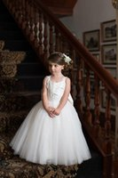 Wholesale oversize flowers - 2018 New Arrival Sweety Backless with Oversize Bow Ball Gown Flower Girls Dresses Jewel sleeveless Full Appliques Tulle Tiered Skirts Dress