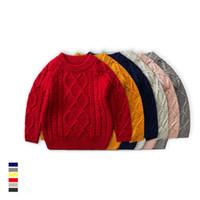 camisolas dos meninos de harmonização venda por atacado-Crianças camisolas Camisola de malha de Inverno Camisola de torção de Malha para meninos meninas 100% algodão All-casado Boutique roupas 3-7 anos