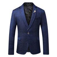 0ac60b435 2018 Nova Moda Mens Blazer Business Casual Único fivela Ternos jaqueta Slim  Fit de Alta Qualidade Masculino Wedding Plus Size M-4X