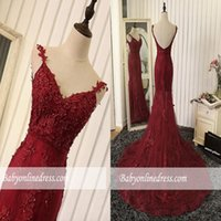 Wholesale mermaid sweetheart prom dresses crystal beads for sale - Group buy Prom Dresses Sexy Burgundy Spaghetti Straps Mermaid Evening Gowns Beads Appliques Sleeveless Plus Size Custom Made Vestidos De Festa