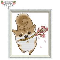 decoração da casa do japão venda por atacado-Atacado DA149 14CT 11CT Contados e Carimbada Home Decor Bonito Japão Akita Dog Needlework Needlepoint kits Ponto Cruz