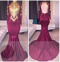 Wholesale Mermaid Prom Dresses Online - New Burgundy Prom Dresses Long Sleeve 2018 Cheap Mermaid Evening Gowns High Neck Gold Applique Backless Special Occasion Prom Dresses Online