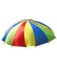 Wholesale parachutes for kids - 2 Metres Ballute For Kid Outdoor Sport Educational Toy Rainbow Parachute Kindergarten Game Hot Sale 24 01rw C