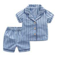 underwear de criança menino marca venda por atacado-Novo Verão Crianças Pijamas de Algodão Listrado Pijamas Pijamas Do Bebê Conjunto Para Meninos Roupa Interior Crianças Ternos Camisa + Shorts 2 pcs