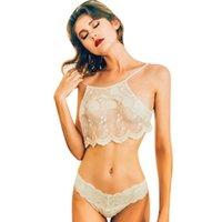 ingrosso set reggiseno corsetto-Feitong 2017 Nuove donne fiori Lingerie Corsetto Sexy Wire Free Bra Set Push Up Lace Bandage Bra + Pants Intimo donna