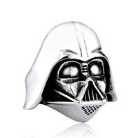 Wholesale Indian Masks - Darth Vader Mask Shape Ring Jewelry High Quality 316L STAINLESS Steel Skull Biker Men Ring Jewelry