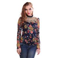 ingrosso donne di tipo autunno-T-shirt donna autunno in pizzo con diamanti O-Collo manica lunga con stampa floreale sottile tipo T-shirt