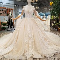 Wholesale glitter shiny dresses for sale - Group buy Light Champagne Shiny Wedding Gown With Glitter Off The Shoulder Sweetheart Wedding Dresses Customized Tulle Long Train