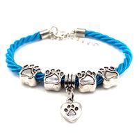 Wholesale dog chain bracelet resale online - 2018 New Hand Woven Colors Rope Chain Bracelet Dog Paw Love My Dog Heart Charm Bracelet for Pet Lovers B18082
