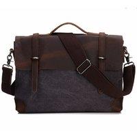 eski tuval deri dizüstü çantası toptan satış-Yeni Bağbozumu evrak Gerçek Deri Tuval Çanta 14 inç Laptop Çantası Retro Tarzı Çapraz Vücut Messenger Çanta Çılgın At Deri Çanta