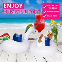 Wholesale boat cup holders - Party Beverage Boats Holder Mini Inflatable Unicorn Floating Cup Holder Pool Drink Holders Swim Ring Water Toys Baby Pool Toys