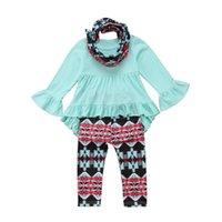 leggings florales niño al por mayor-Moda 3 piezas niño Kid Baby Girl trajes florales ropa camiseta Dress + Floral Leggings Set