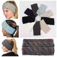 turban beanie toptan satış-Örme Tığ Kafa Kadınlar Kış Sporları Headwrap Hairband Turban Kafa Bandı Kulak Isıtıcı Beanie Cap Bantlar LJJA3276-4