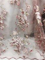 tecido africano de ouro amarelo venda por atacado-2018 Mais Recente Francês Nigeriano Laços Tecidos de Alta Qualidade Africano Laces Casamento Tecido Colado contas Tulle Lace Rosa, ouro, amarelo
