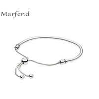 регулируемые браслеты из змеиной цепи оптовых-Marfend 2018 New 925 Sterling Silver 28cm adjustable Snake Chain Charm Bracelet & Bangle Fit Original  Women Jewelry Gifts