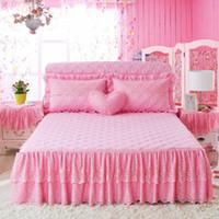 ropa de cama amarilla chica rojo al por mayor-Princesa falda de cama rosa rojo amarillo azul encaje doble grueso algodón cubierta de colchón colcha faldas para niñas 150 / 180x200cm