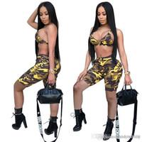 os corpos das mulheres se encaixam na roupa venda por atacado-2019 novas mulheres Treino Set t Amor Camuflagem impressão Shirt + Shorts Body Track Suit Set Roupas de Verão set KKA4803