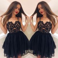 vestidos de fiesta de gasa negro al por mayor-Correa de espagueti negra Vestidos de Fiesta Cariño Gasa Cremallera Volver 8º Grado Vestidos de fiesta de graduación Dulce 16 Vestidos