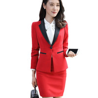 Wholesale work uniform skirts online – ideas New fashion women skirt suits set Business formal long sleeve Patchwork blazer and skirt office ladies plus size work uniforms