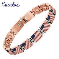 медный флаг оптовых-Escalus 2018 Classic USA Flag Women Magnetic Bracelet United States Antique Copper Men Charm Bracelets Chain Jewelry Wristband