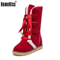 Wholesale Calf Height Boots - KemeKiss Size 34-43 Ladies Height Increasing Mid Calf Boots Women Round Toe Cross Tied Shoes Women Thick Fur Warm Snow Botas