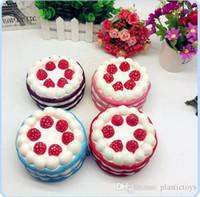 blaue rose neues jahr großhandel-Hot Squishy Erdbeer-und herzförmigen Kuchen Kawaii Slow Rising Cream Cake Mango Gelb Rosy Blue Kids New Year Toy Geschenk geben Schiff frei