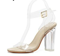 e345f334d8 Sandálias das mulheres Tira No Tornozelo Perspex Sapatos De Salto Alto PVC  Claro Cristal Concisa Clássico Fivela Alça de Alta Qualidade Sapatos