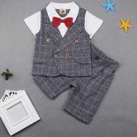 Wholesale Boys 4t Dress Pants - Summer Kids British Wind Boy Birthday Dress. Boy gentleman suit. Children's clothing blue stripe blazer pants suits