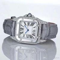 Wholesale square shape watches - 2017 Fashion Luxury Watches Unisex Women Men Watch Square Diamonds Bezel Leather Strap Top Brand Quartz Wristwatches for Men Lady Best Gift
